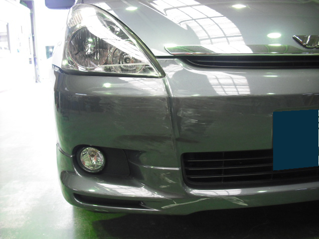 トヨタ ウィッシュ フロントバンパ フェンダー板金塗装